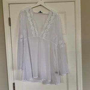 Express sheer white swim suit coverup